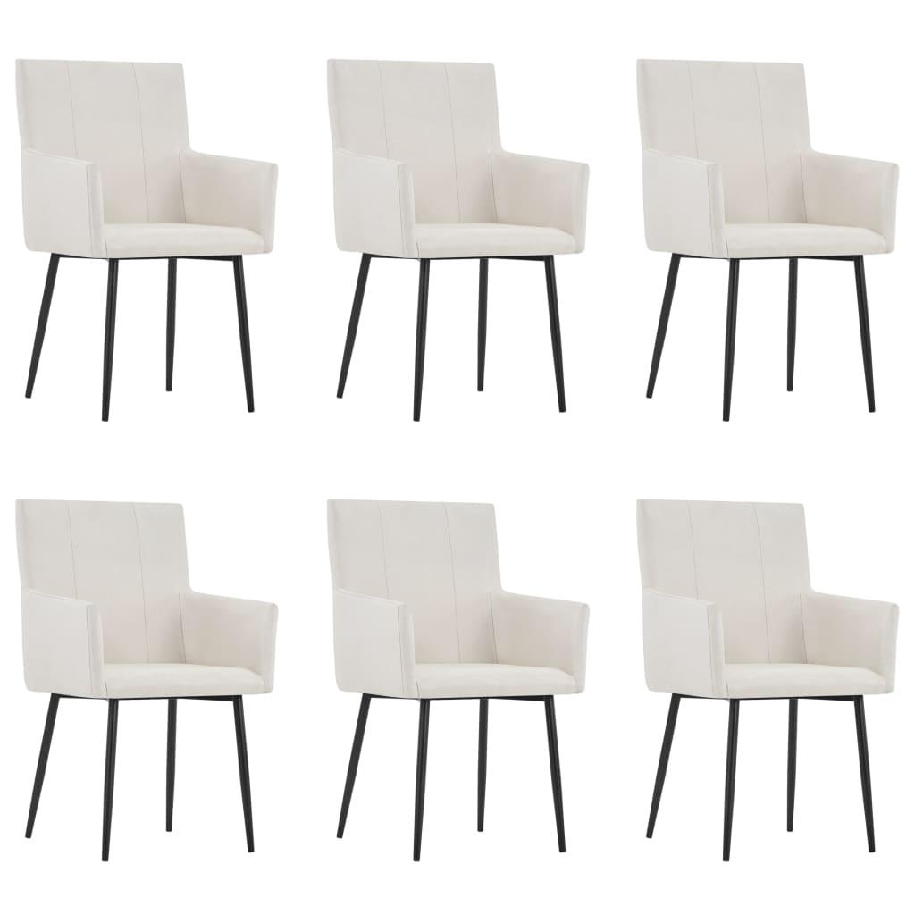 vidaXL Καρέκλες Τραπεζαρίας με Μπράτσα 6 τεμ. Κρεμ Υφασμάτινες
