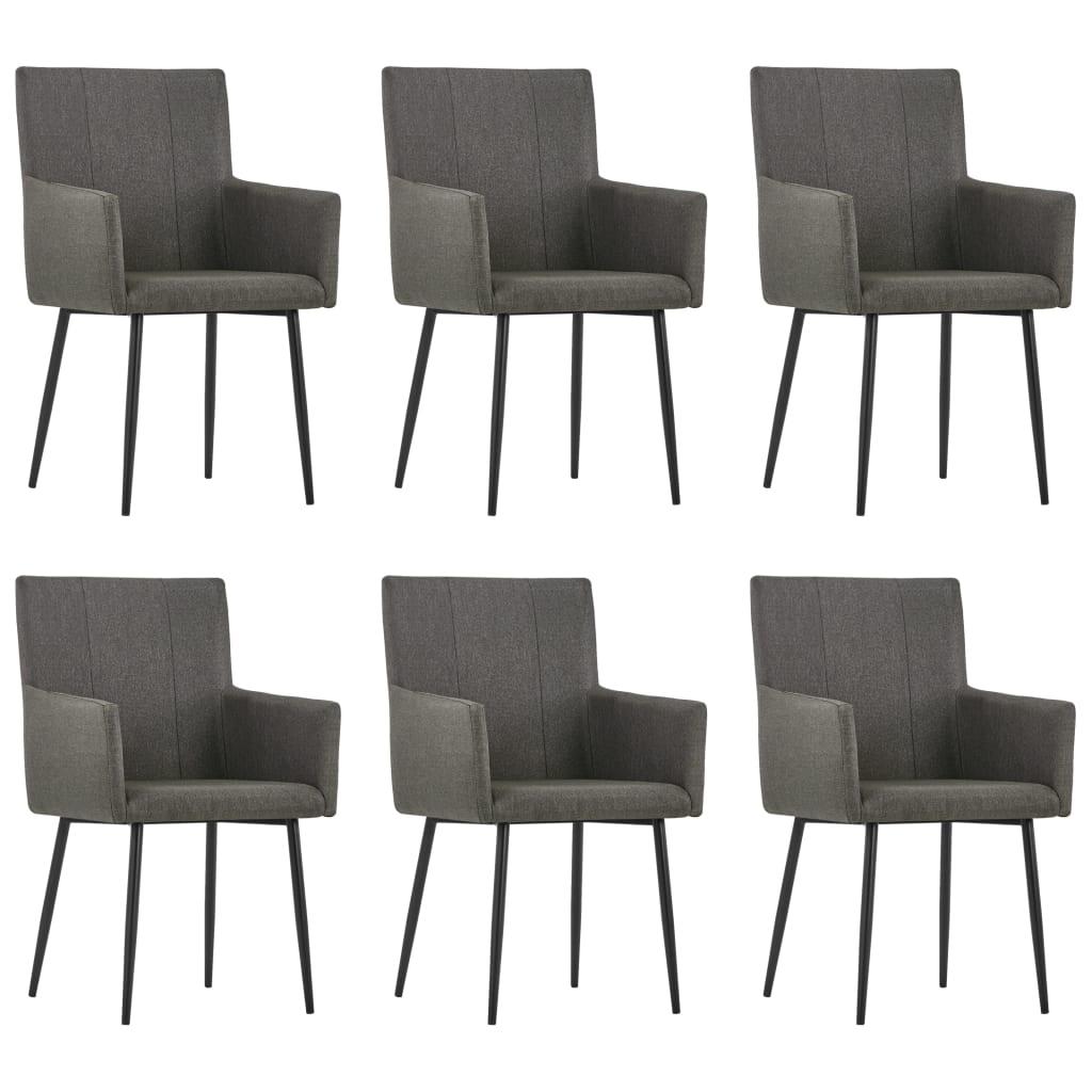 vidaXL Καρέκλες Τραπεζαρίας με Μπράτσα 6 τεμ. Taupe Υφασμάτινες