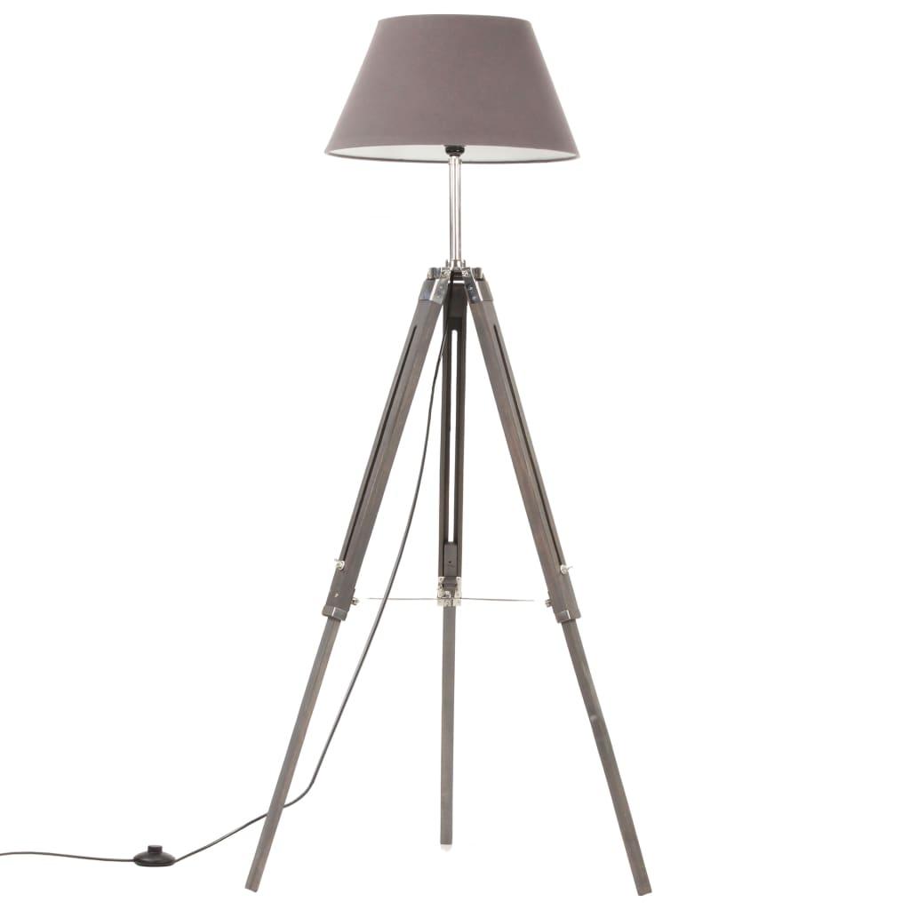 vidaXL Lampă de podea trepied, gri, 141 cm, lemn masiv de tec poza 2021 vidaXL