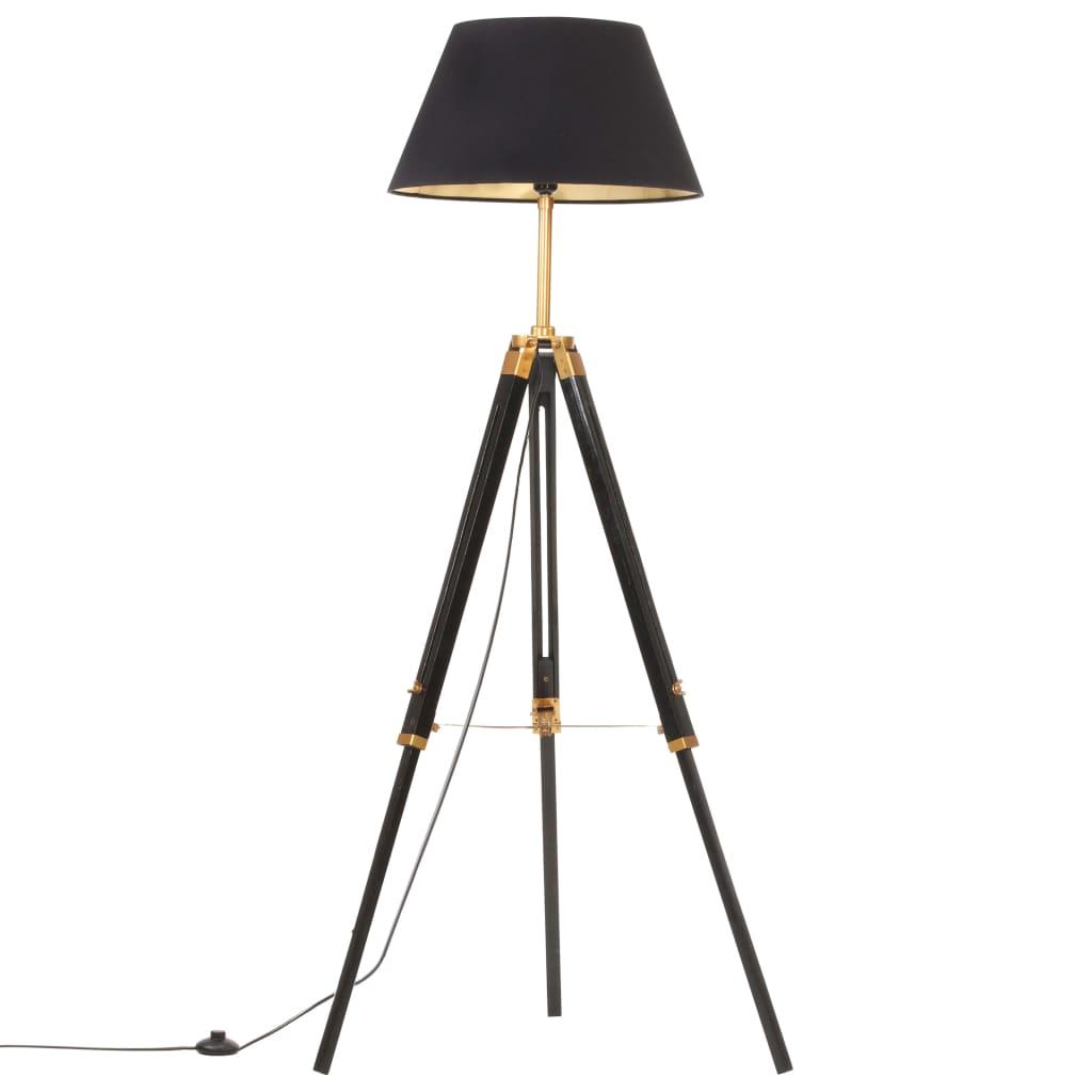 vidaXL Lampă de podea trepied, negru și auriu, 141 cm, lemn masiv tec poza 2021 vidaXL