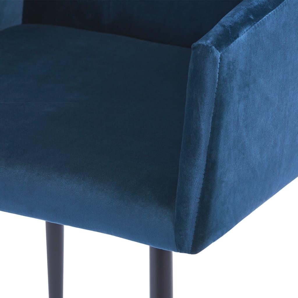 vidaXL Eetkamerstoelen met armleuningen 6 st fluweel blauw