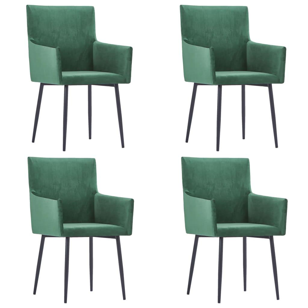 vidaXL spisebordsstole med armlæn 4 stk. fløjl grøn