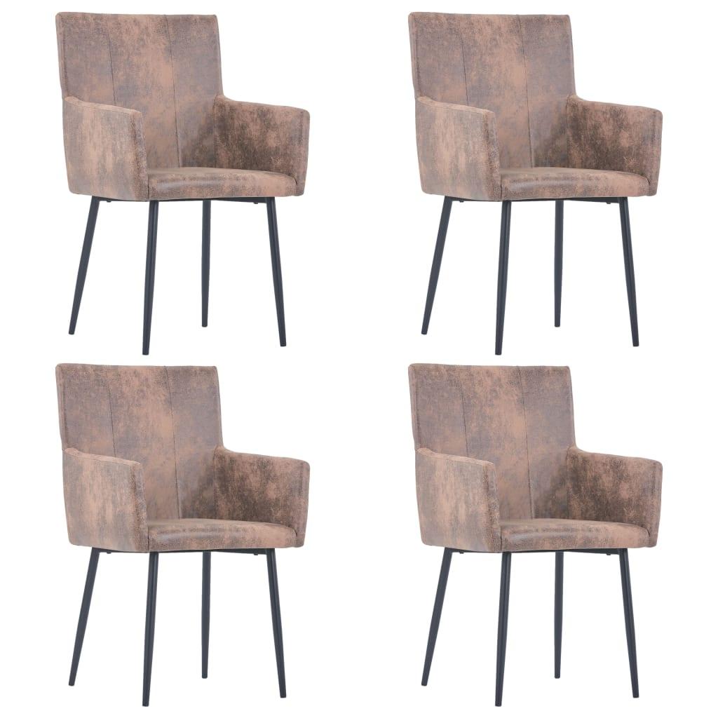 Esszimmerstühle mit Armlehnen 4 Stk. Braun Wildleder-Optik