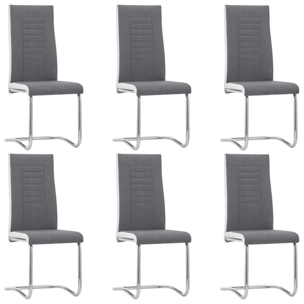 vidaXL Καρέκλες Τραπεζαρίας «Πρόβολος» 6 τεμ. Σκούρο Γκρι Υφασμάτινες
