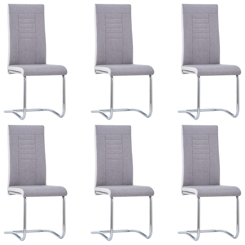 vidaXL Καρέκλες Τραπεζαρίας «Πρόβολος» 6 τεμ. Ανοιχτό Γκρι Υφασμάτινες