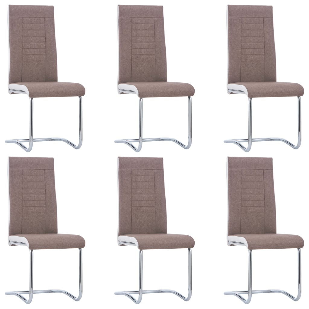 vidaXL Καρέκλες Τραπεζαρίας «Πρόβολος» 6 τεμ. Καφέ Υφασμάτινες