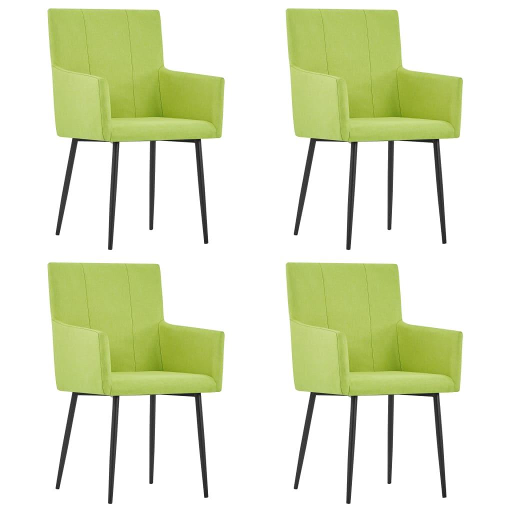 vidaXL Καρέκλες Τραπεζαρίας με Μπράτσα 4 τεμ. Πράσινες Υφασμάτινες