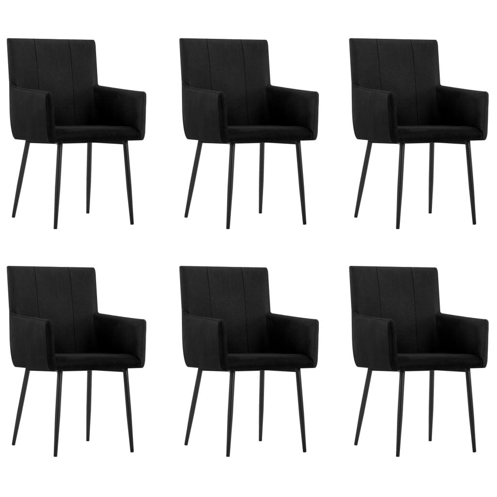 vidaXL Καρέκλες Τραπεζαρίας με Μπράτσα 6 τεμ. Μαύρες Υφασμάτινες