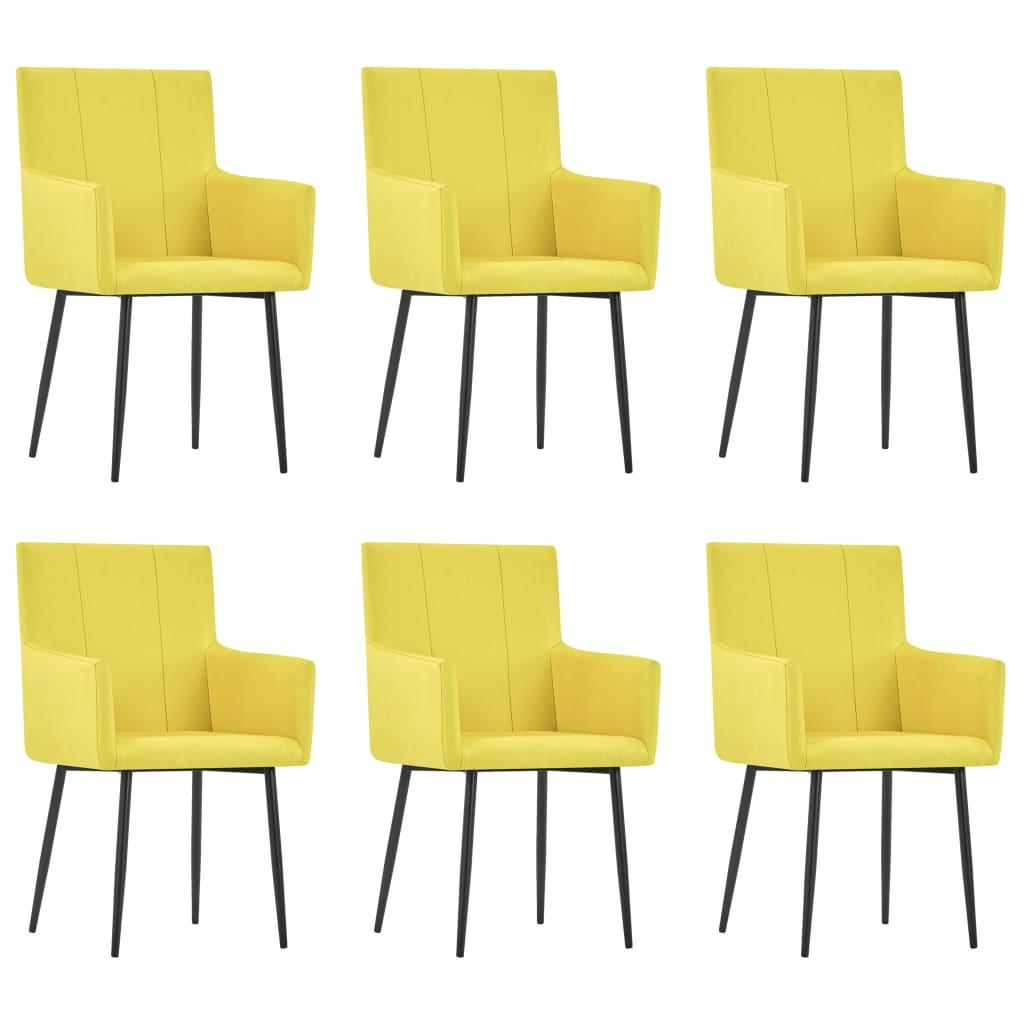 vidaXL Καρέκλες Τραπεζαρίας με Μπράτσα 6 τεμ. Κίτρινες Υφασμάτινες
