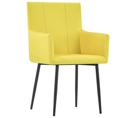 vidaXL Esszimmerstühle mit Armlehnen 6 Stk. Gelb Stoff