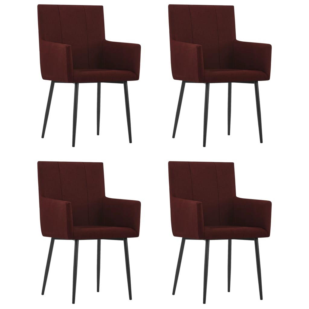 vidaXL Καρέκλες Τραπεζαρίας με Μπράτσα 4 τεμ. Μπορντό Υφασμάτινες
