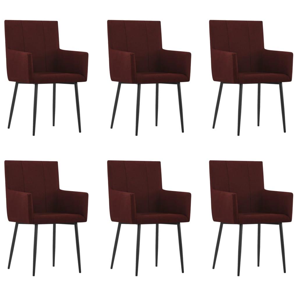 vidaXL Καρέκλες Τραπεζαρίας με Μπράτσα 6 τεμ. Μπορντό Υφασμάτινες