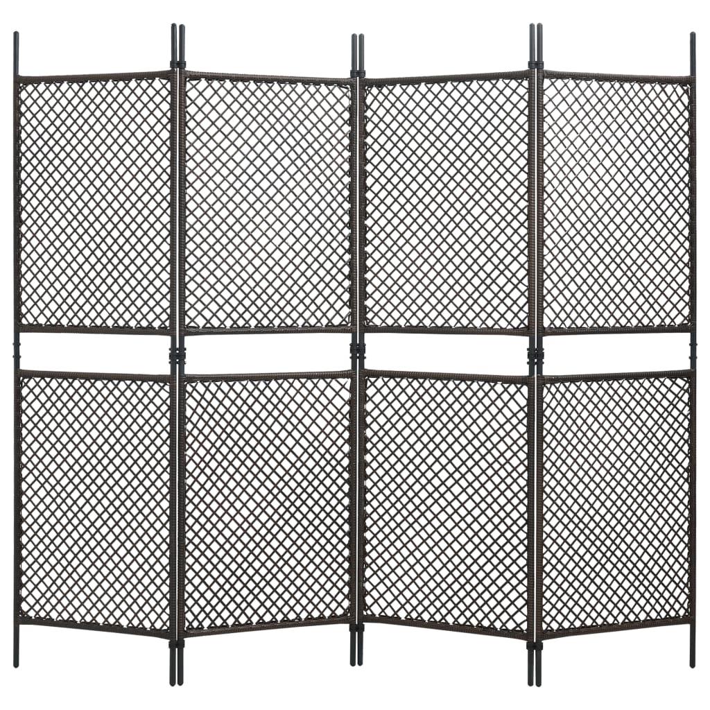 vidaXL Paravan cameră cu 4 panouri, maro, 240 x 200 cm, poliratan vidaxl.ro