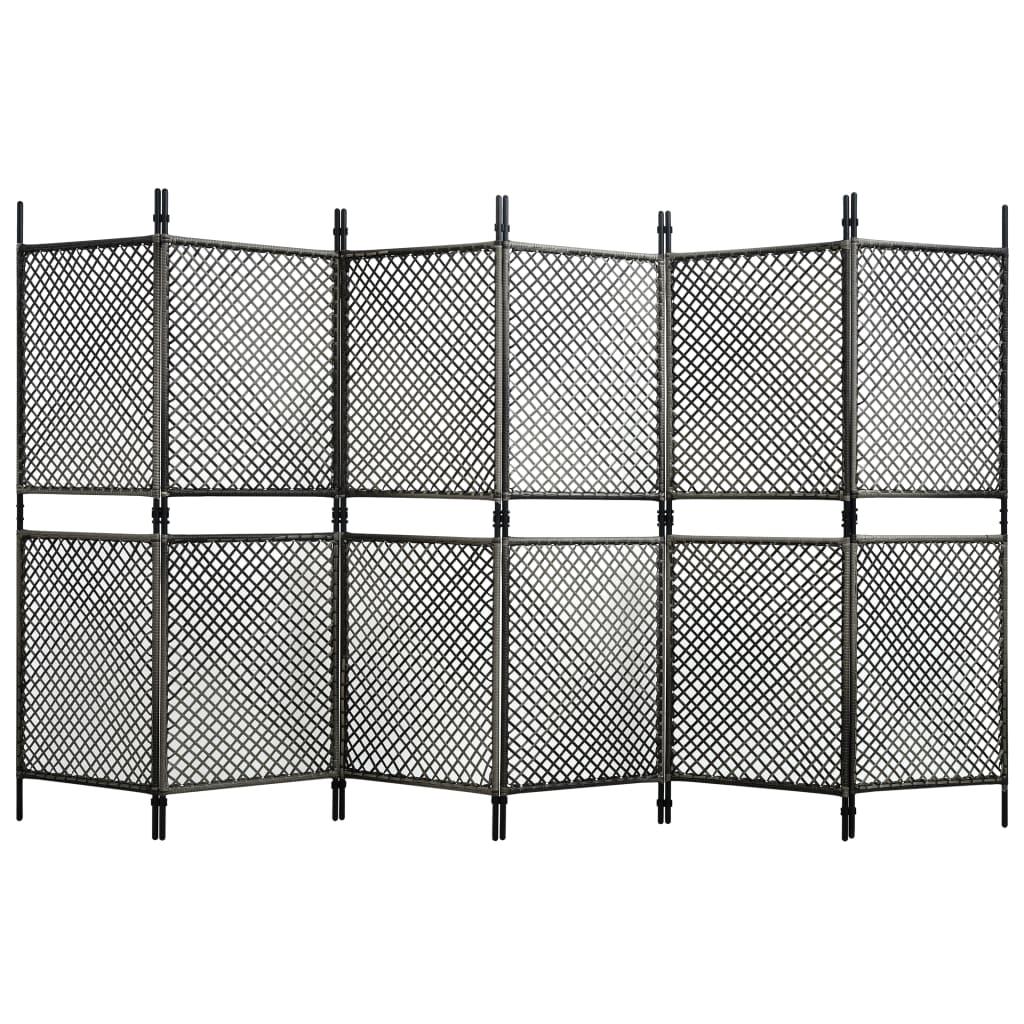 vidaXL Paravan cameră cu 6 panouri, antracit, 360 x 200 cm, poliratan vidaxl.ro