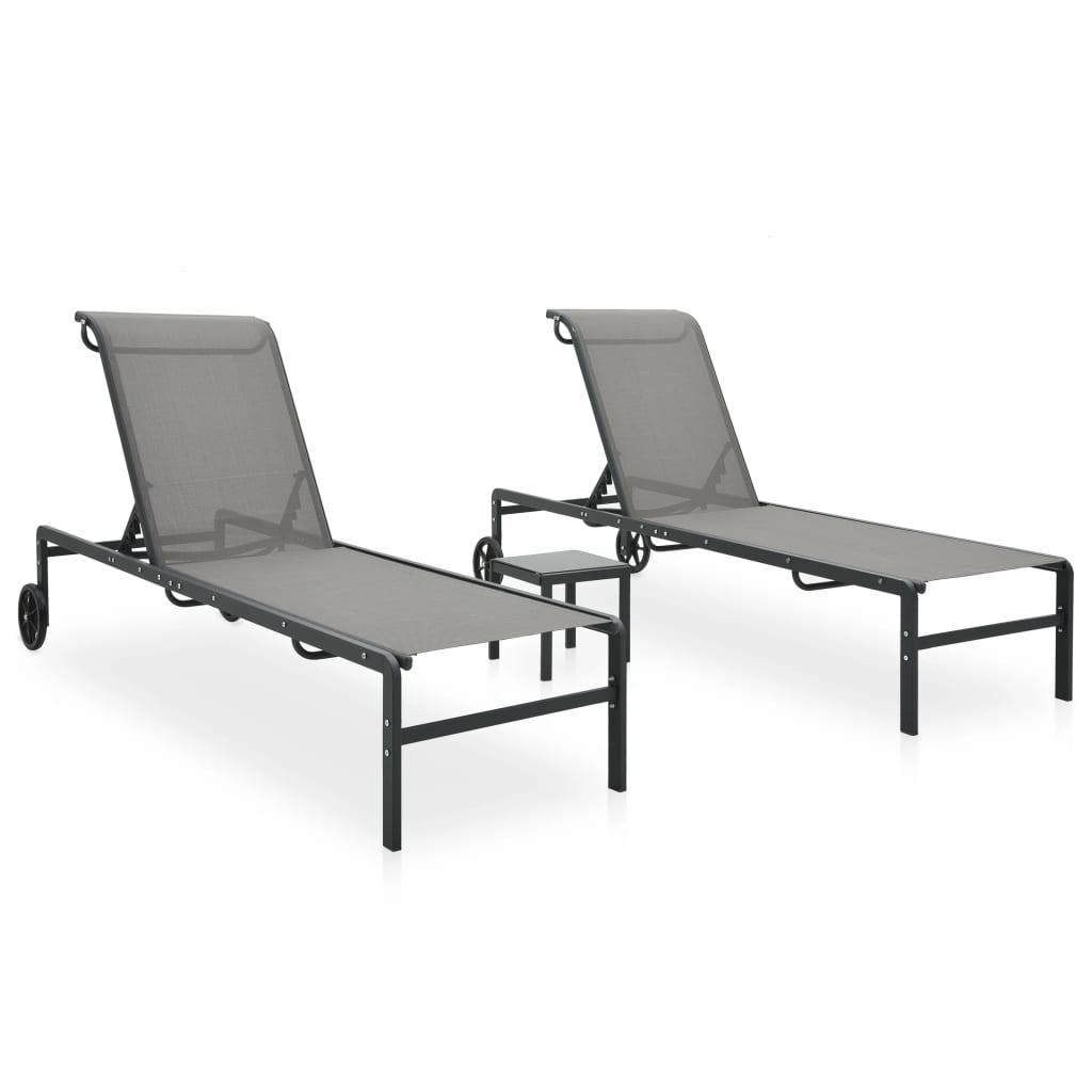 vidaXL Șezlonguri cu masă, 2 buc., textilenă și oțel poza 2021 vidaXL
