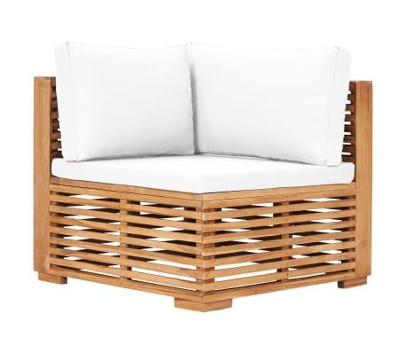 vidaXL Garden Corner Sofa with Cream Cushion Solid Teak Wood