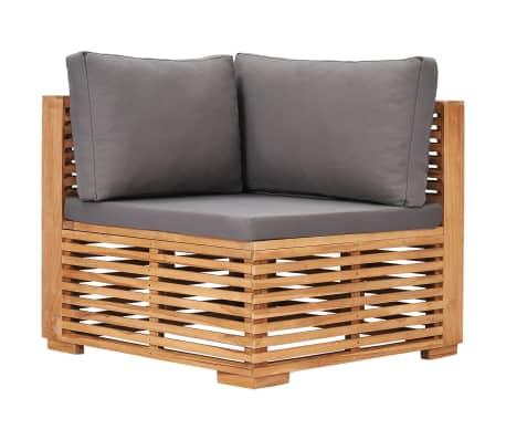 vidaXL Garden Corner Sofa with Grey Cushion Solid Teak Wood