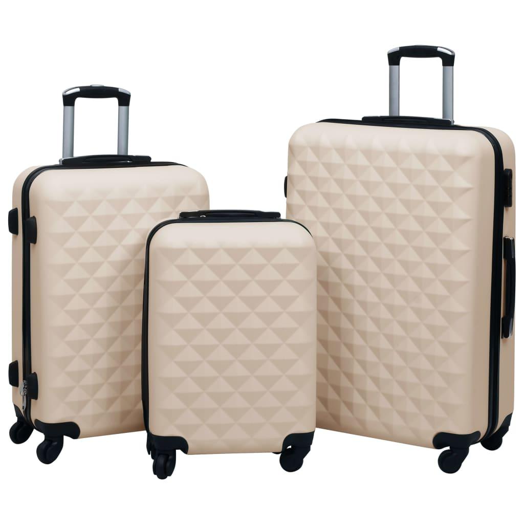 Sada skořepinových kufrů na kolečkách 3 ks zlatá ABS