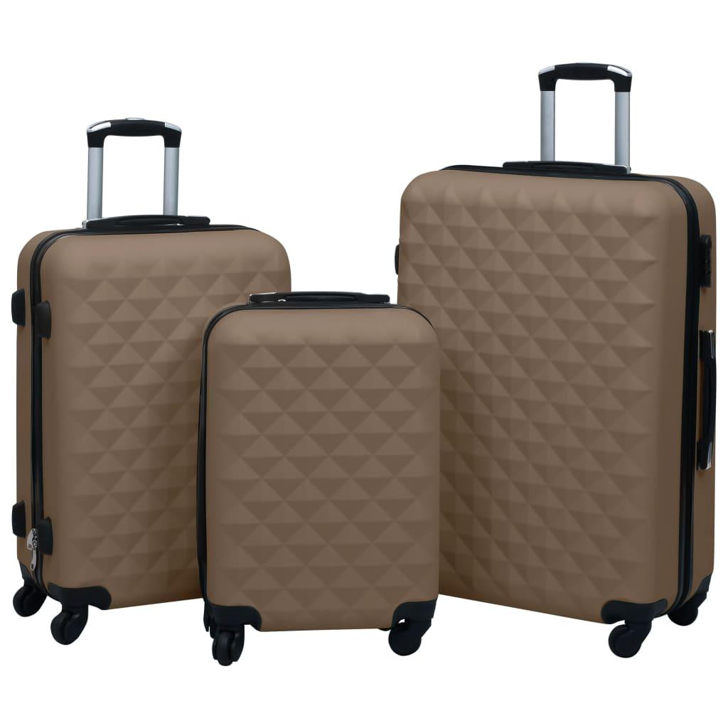 vidaXL Set de valize cu carcasă rigidă, 3 piese, maro, ABS imagine vidaxl.ro
