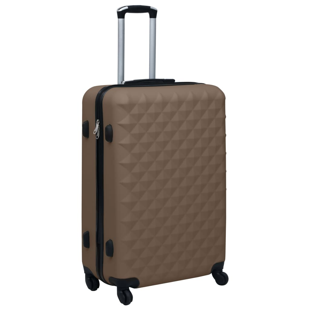 Skořepinový kufr na kolečkách hnědý ABS