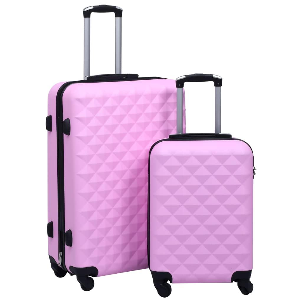 Sada skořepinových kufrů na kolečkách 2 ks růžová ABS