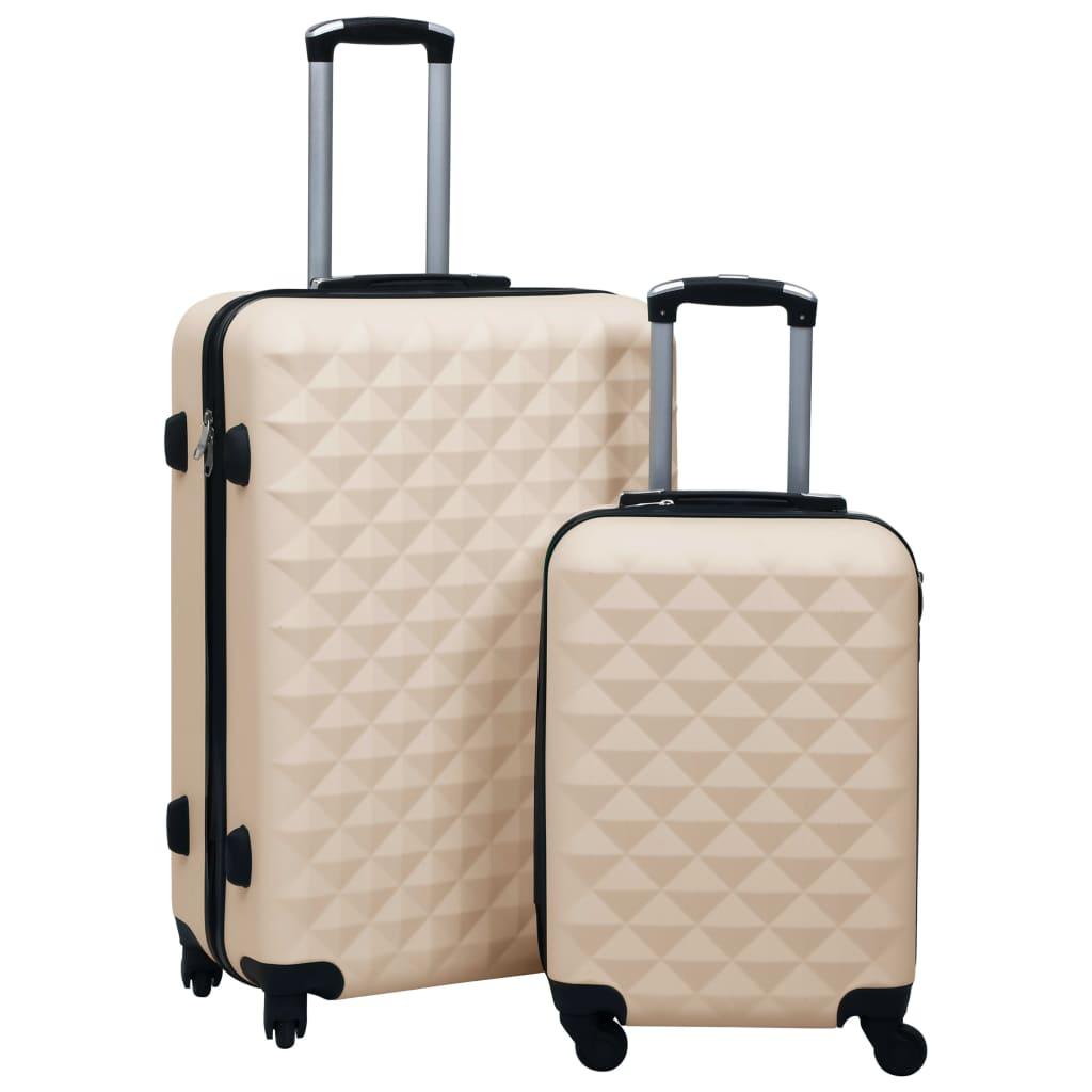 Sada skořepinových kufrů na kolečkách 2 ks zlatá ABS