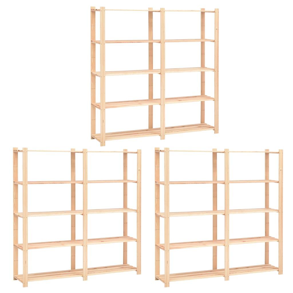 vidaXL Etajere cu 5 niveluri 3 buc. 170x38x170cm lemn masiv pin 500 kg vidaxl.ro