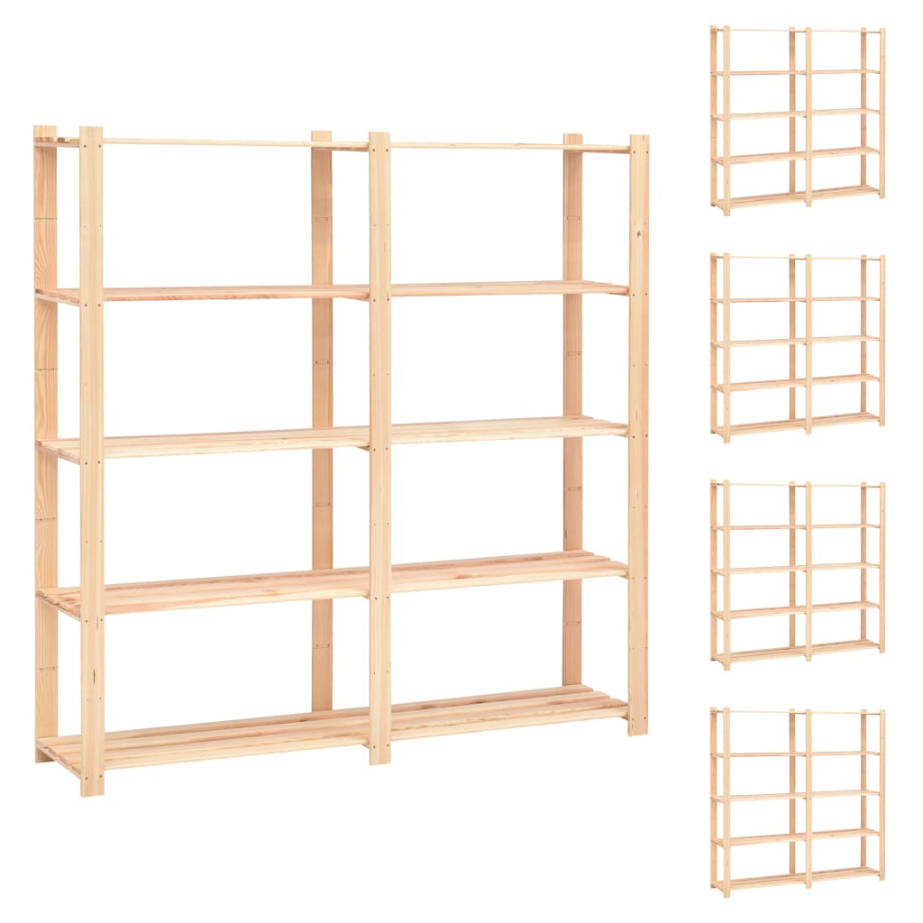 vidaXL Etajere cu 5 niveluri 5 buc, 170x38x170 cm, lemn de pin, 500 kg vidaxl.ro