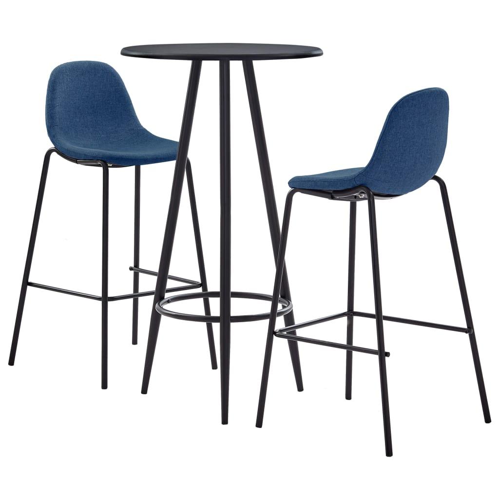 vidaXL 3dílný barový set textil modrý