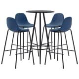 vidaXL Baro baldų komplektas, 5 dalių, mėlynos spalvos, audinys