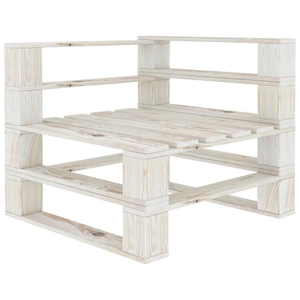vidaXL Canapea din paleți de colț pentru grădină, alb, lemn vidaxl.ro