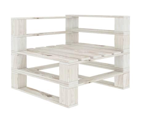 vidaXL Garden Pallet Corner Sofa Wood White
