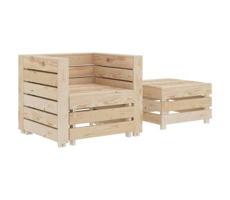 vidaXL 2 Piece Garden Pallet Lounge Set Wood