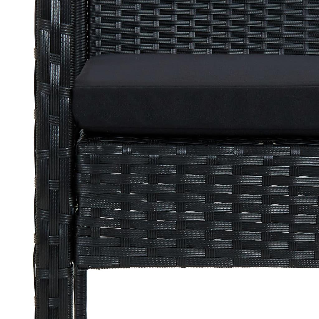 vidaXL Tuinbank 3-zits met kussen poly rattan zwart