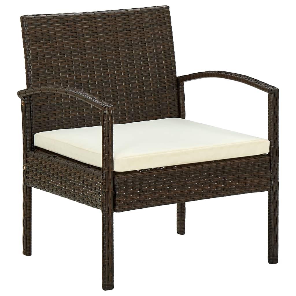 Zahradní židle s poduškou polyratan hnědá