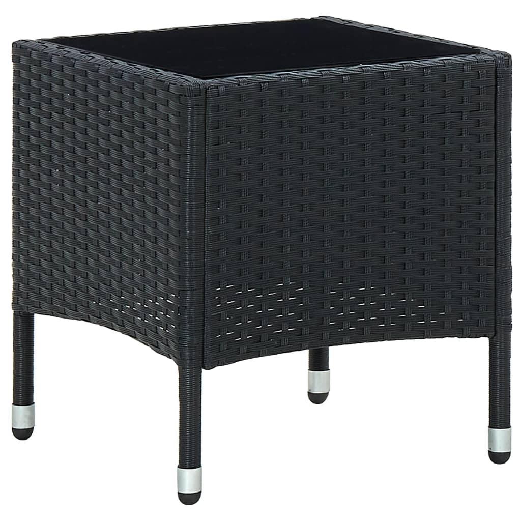 Zahradní stůl černý 40 x 40 x 45 cm polyratan