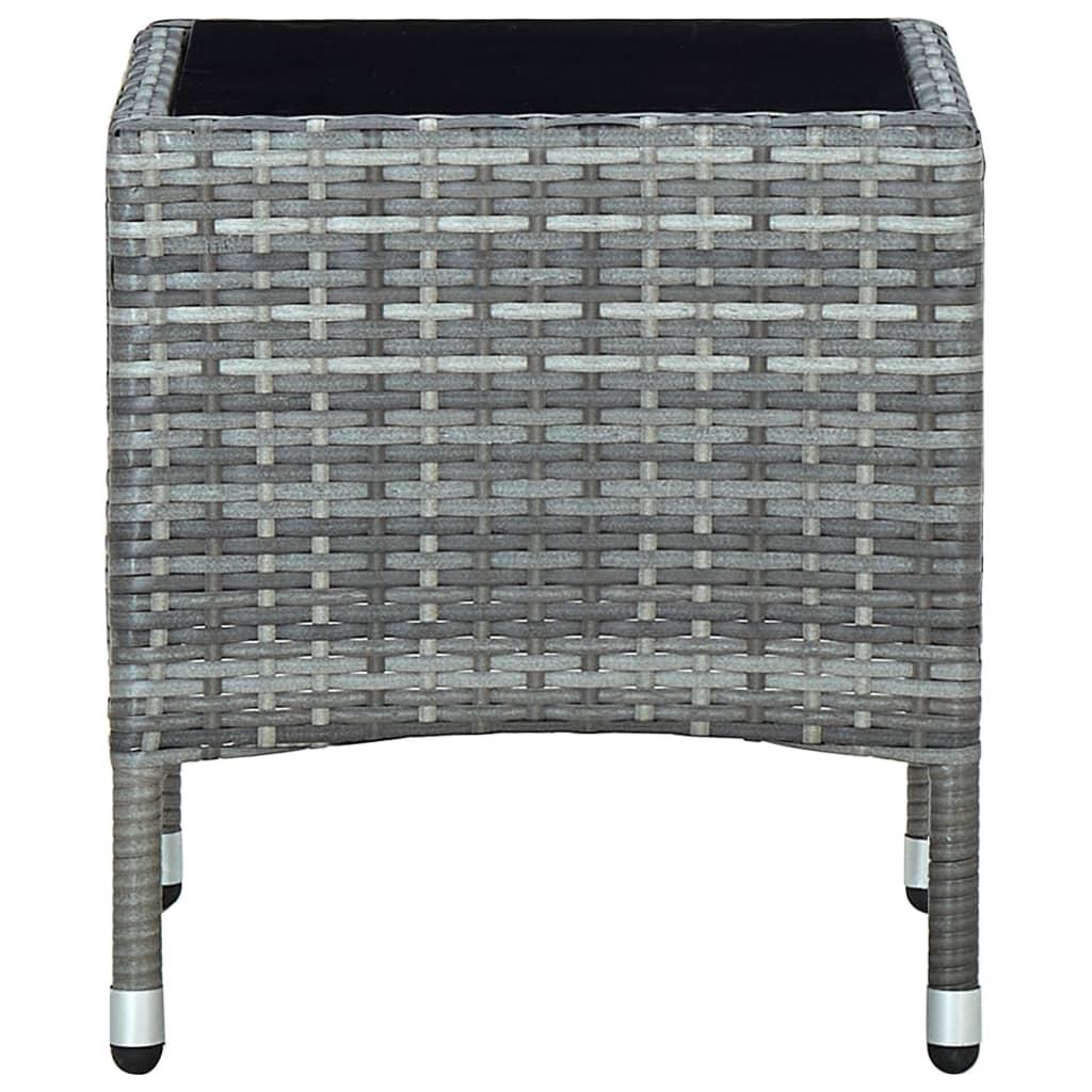 vidaXL Tuintafel 40x40x45 cm poly rattan grijs