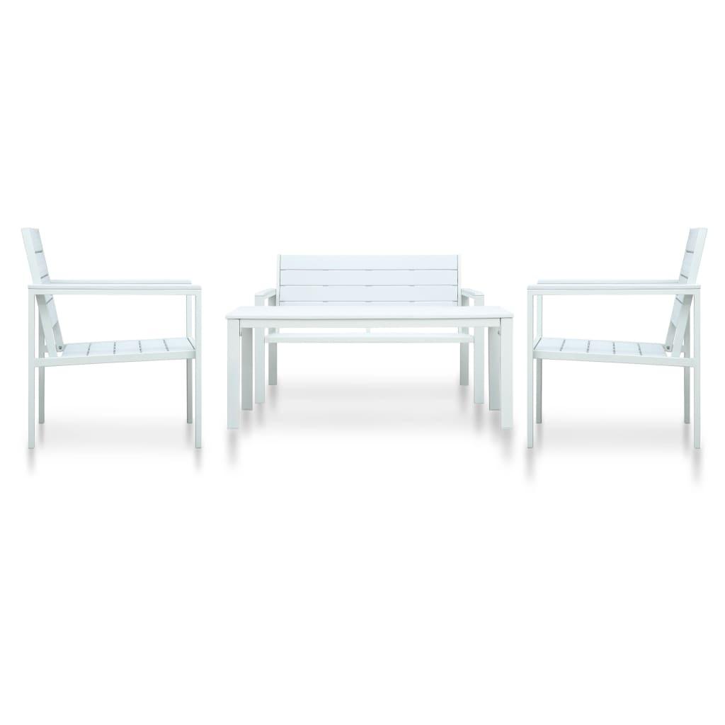 vidaXL 4-cz. ogrodowy zestaw wypoczynkowy, HDPE, biały, drewnopodobny