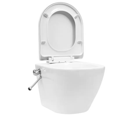 vidaXL Окачена тоалетна чиния без ръб с функция биде, керамична, бяла