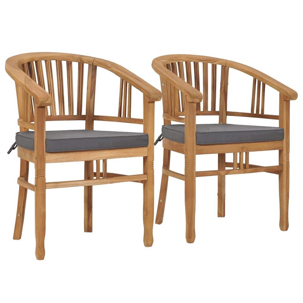 vidaXL Καρέκλες Κήπου 2 τεμ. από Μασίφ Ξύλο Teak με Μαξιλάρια