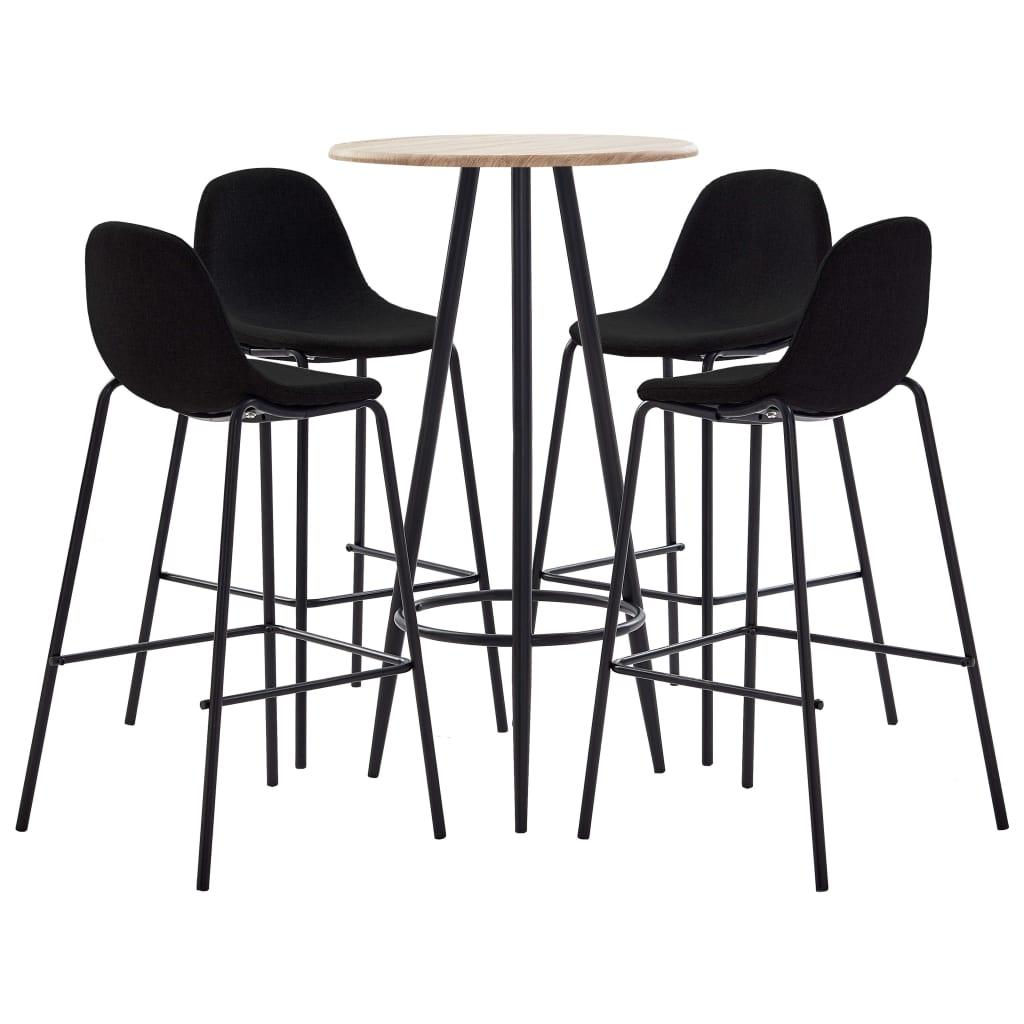 vidaXL Set mobilier de bar, 5 piese, negru, material textil vidaxl.ro