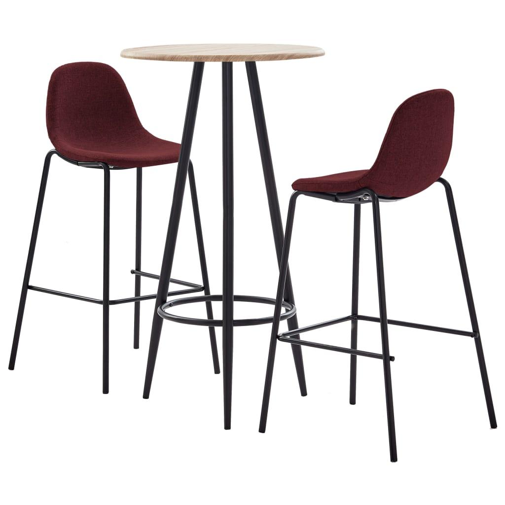 vidaXL Set mobilier de bar, 3 piese, roșu vin, material textil vidaxl.ro