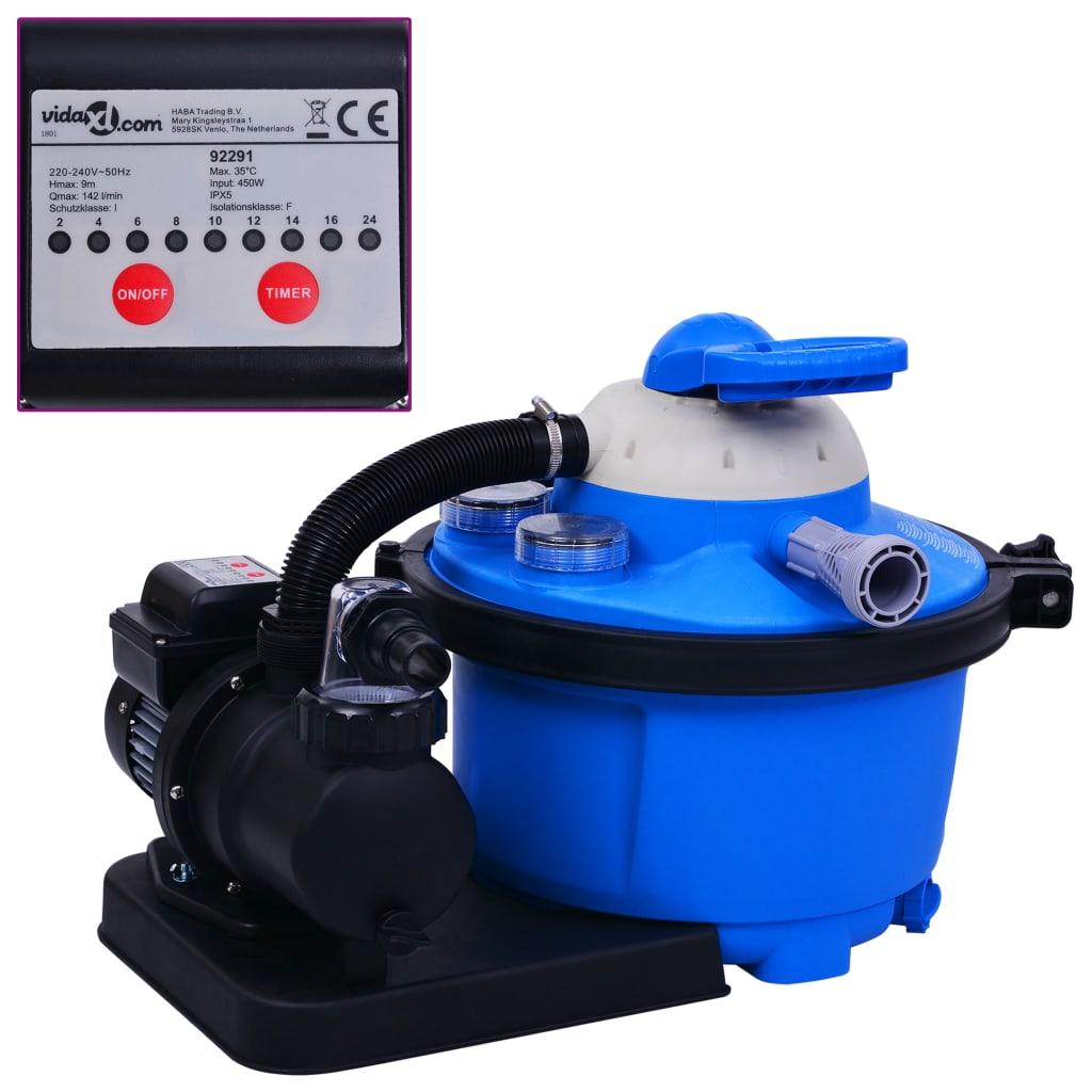 vidaXL Pompă filtru cu nisip, cu temporizator, 450 W 25 L poza vidaxl.ro
