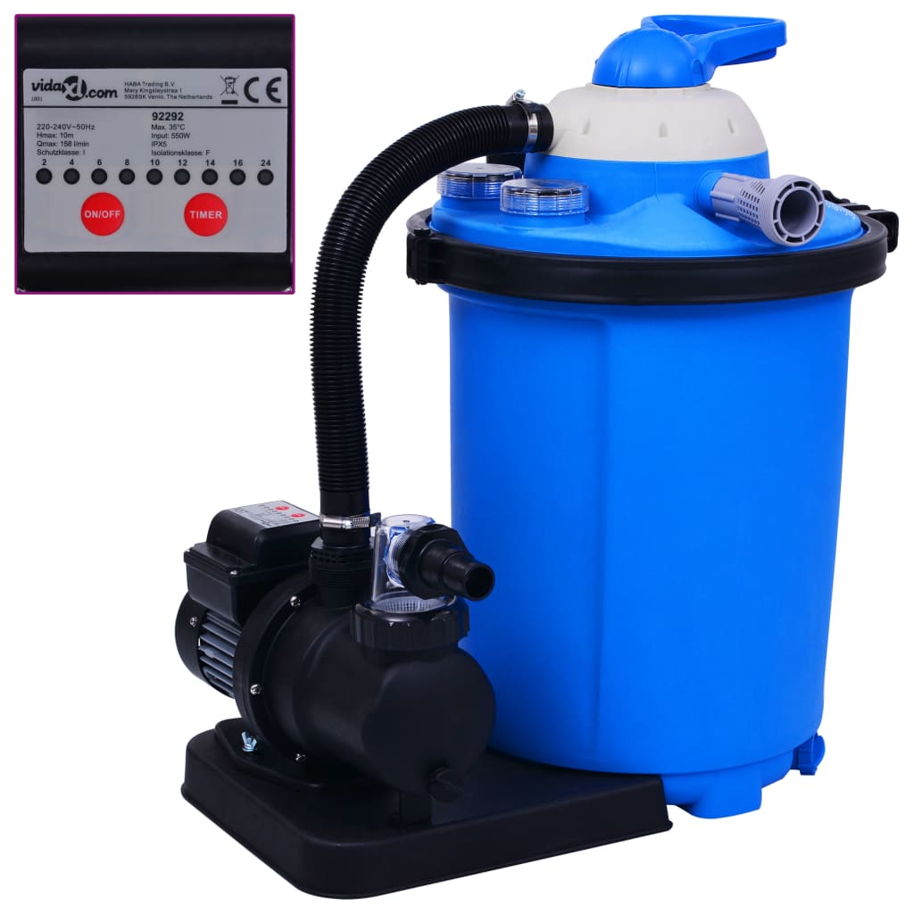 vidaXL Pompă filtru cu nisip, cu temporizator, 550 W 50 L poza vidaxl.ro