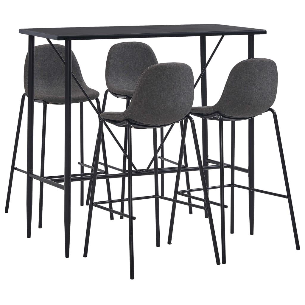 vidaXL Set mobilier de bar, 5 piese, gri închis, material textil vidaxl.ro