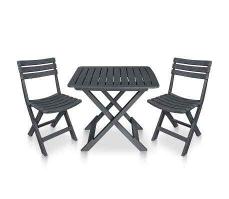 vidaXL 3 Piece Folding Bistro Set Plastic Anthracite