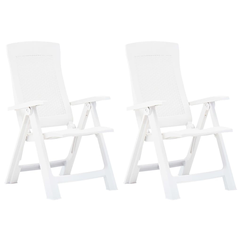vidaXL Rozkładane krzesła do ogrodu, 2 szt., plastikowe, białe