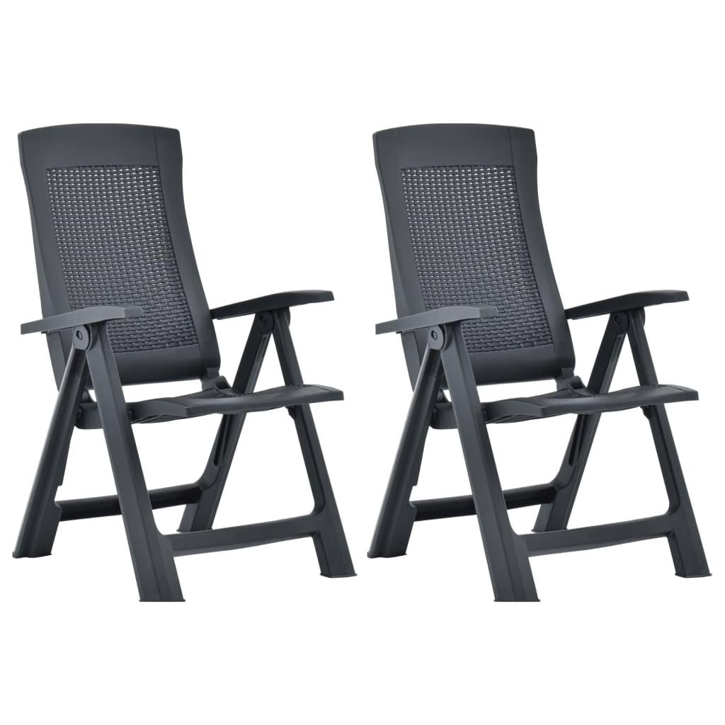 vidaXL Καρέκλες Κήπου Ανακλινόμενες 2 τεμ. Ανθρακί Πλαστικές