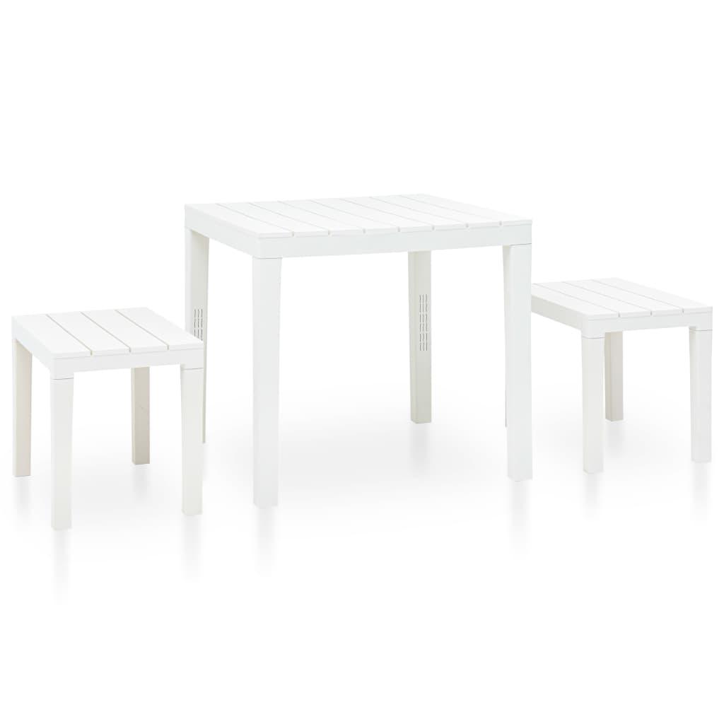 vidaXL Stolik ogrodowy z 2 ławkami, plastikowy, biały