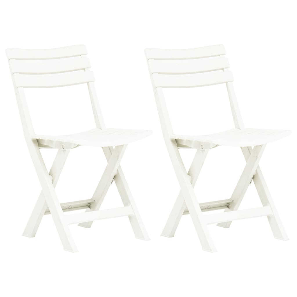 vidaXL Καρέκλες Κήπου Πτυσσόμενες 2 τεμ. Λευκές Πλαστικές